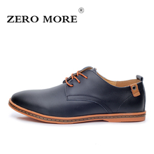 2017 Leather Men Shoes ZERO MORE Fashion Men Flat Shoe Round Toe Comfortable Office Autumn Winter Shoes for Men Size 38-48 #ZM26
