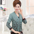 Women Cardigan Long Sleeve Women Fashion Printed Sweater Middle aged Mother Elegance Knit Cardigan Plus Size C885
