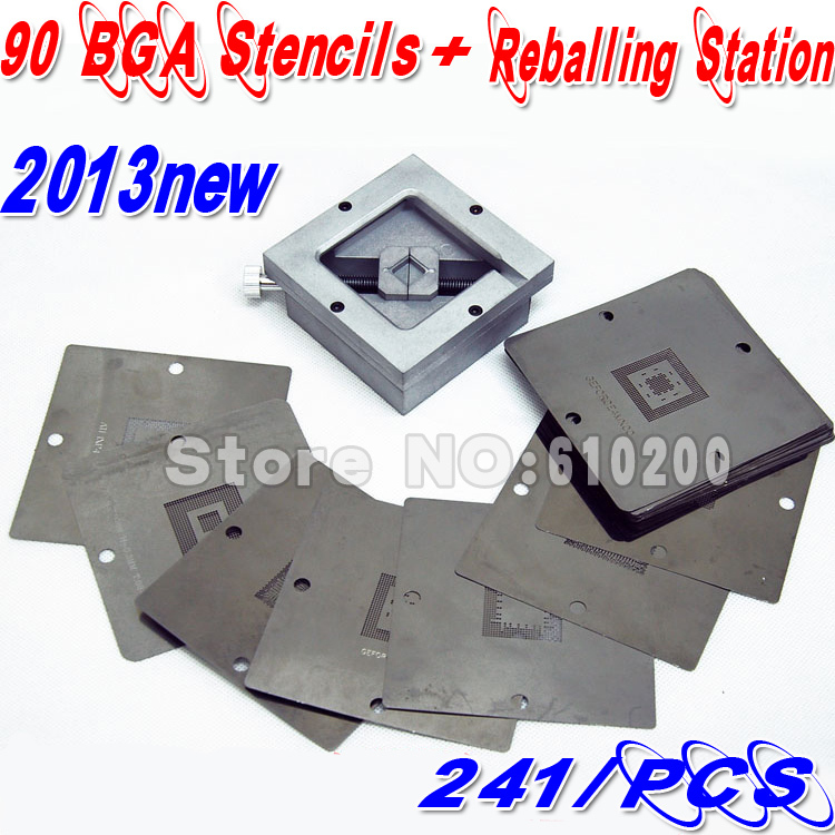 2014 New BGA 241 pcs 90x90 BGA stencils templates+BGA  Reballing Station HT-90 Station Reballing Stencil Kit bga reballing rework station with hand grip for 90x90mm stencils templates new