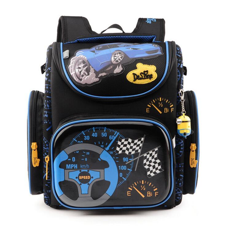 2018 Hot Boys School Bags Dark Blue Cars Aircraft Children's Orthopedic Backpack Fashion New Mochila Infantil Bolsas Primary