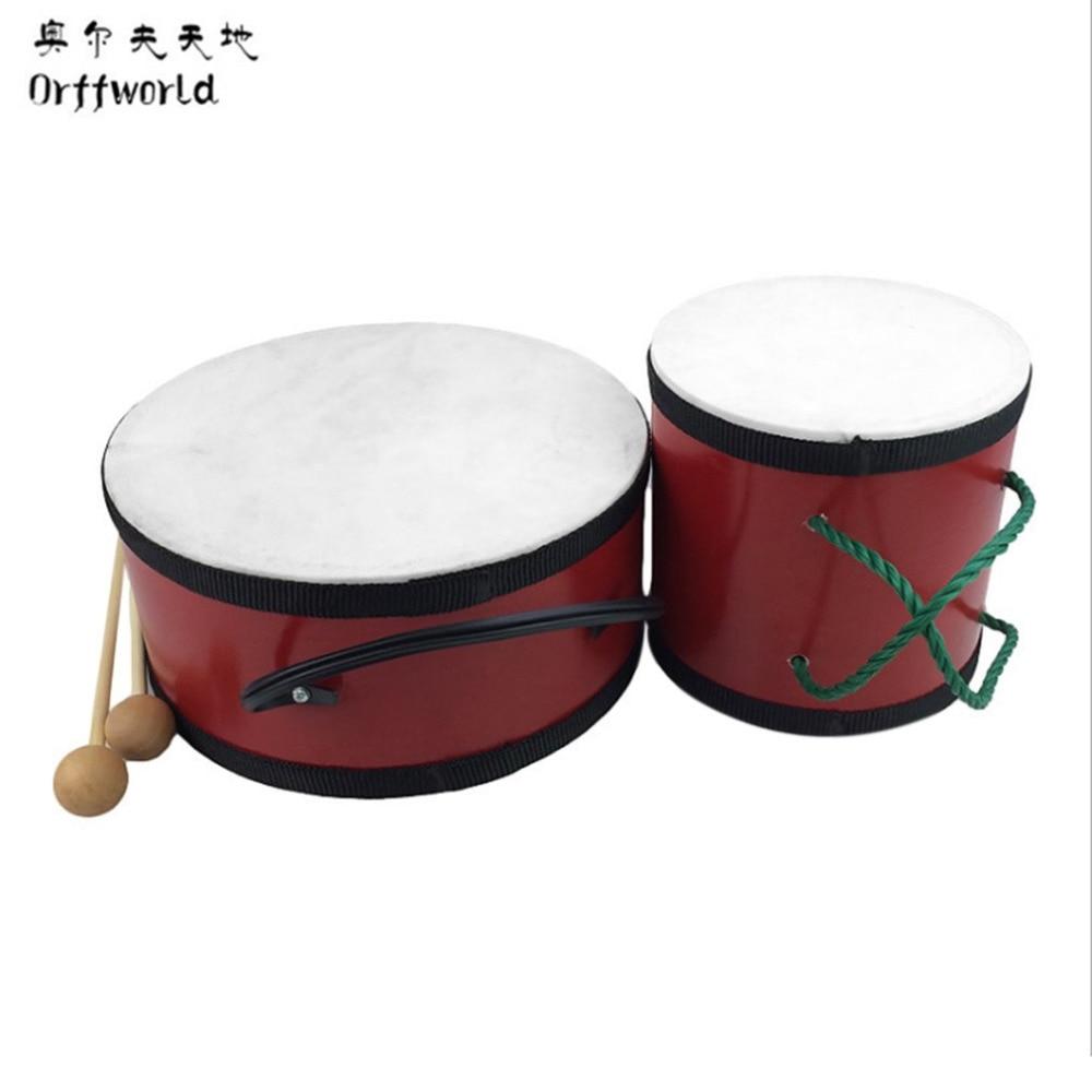 Orff Monde Double Face Indien Tambour Percussion Instrument de Musique Pour Les Enfants D'apprentissage Rythme Enseignement Précoce Avec Pilon