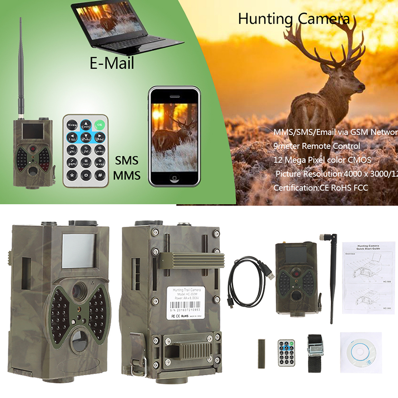 HC350M Hunting Trail Camera MMS SMS GPRS HD 16MP 1080P Video Night Vision Scouting Infrared Game Photo Traps Hunt Trail Camera hc 300m hunting game camera mms photo trap hd scouting infrared outdoor hunting trail video camera black ir night vision camera