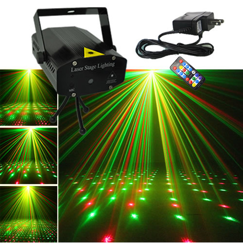AUCD Mini Black Shell Portable IR Remote Red Green Laser Projector Lights DJ KTV Home Xmas Party Dsico LED Stage Lighting OI100B светильник 704634 monile osgona 1045034