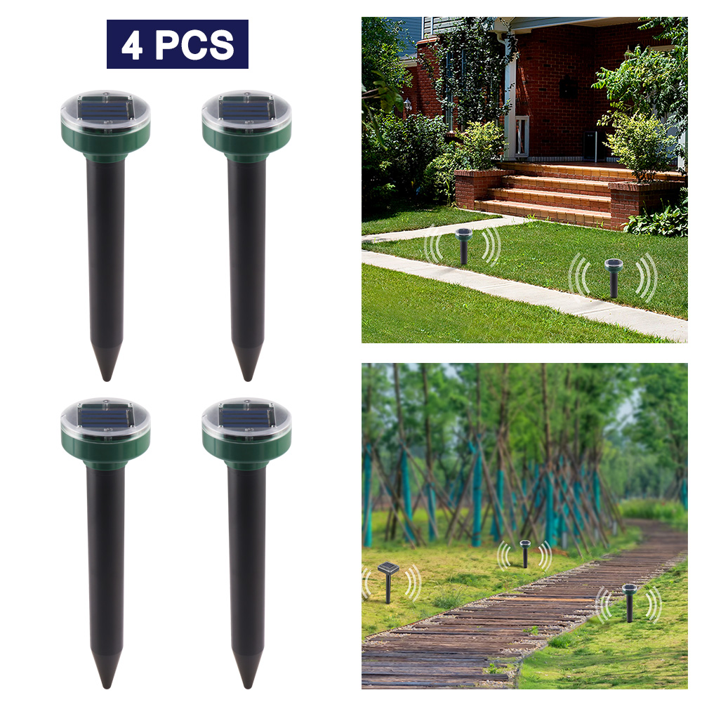 4PCS Outdoor Garden Yard Ultrasonic Solar Mole Snake Mouse Pest Rodent Repeller Anti Mosquito Snake Bird Keep Animals Away(China)