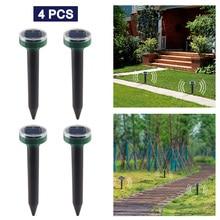4PCS Outdoor Garden Yard Ultrasonic Solar Mole Snake Mouse Pest Rodent Repeller Anti Mosquito Snake Bird Keep Animals Away