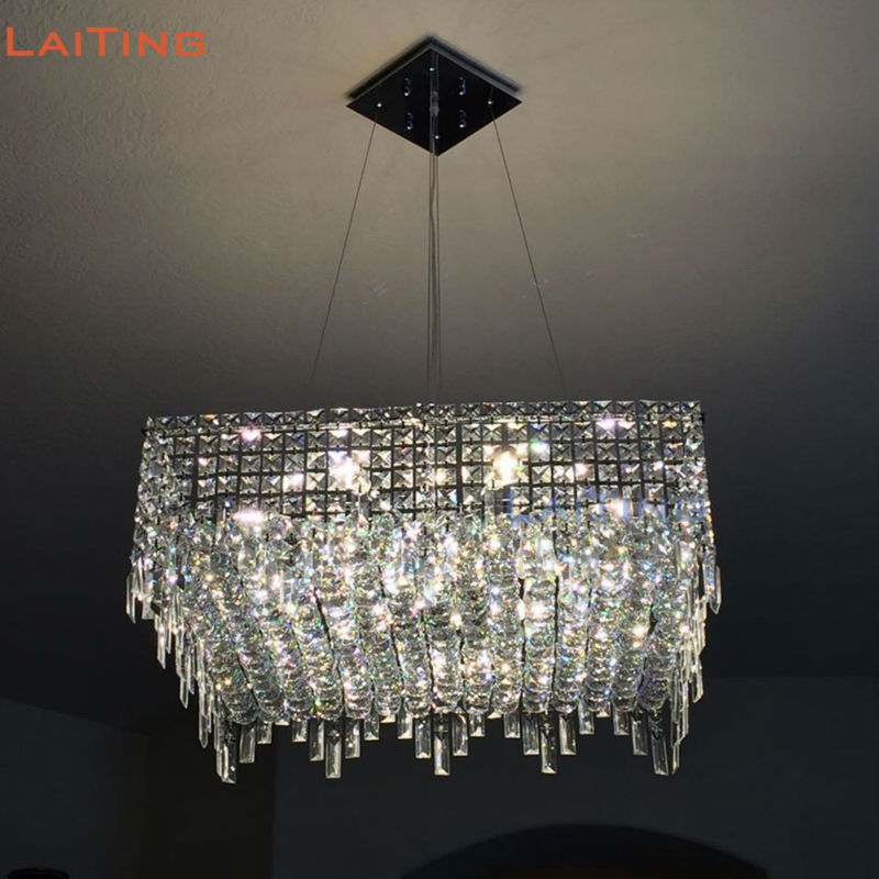 LAITING Modern Design Rectangular Chandeliers Dining Room Illumination Lighting Square Crystal Chandelier LED LT-71064R modern crystal chandelier led hanging lighting european style glass chandeliers light for living dining room restaurant decor