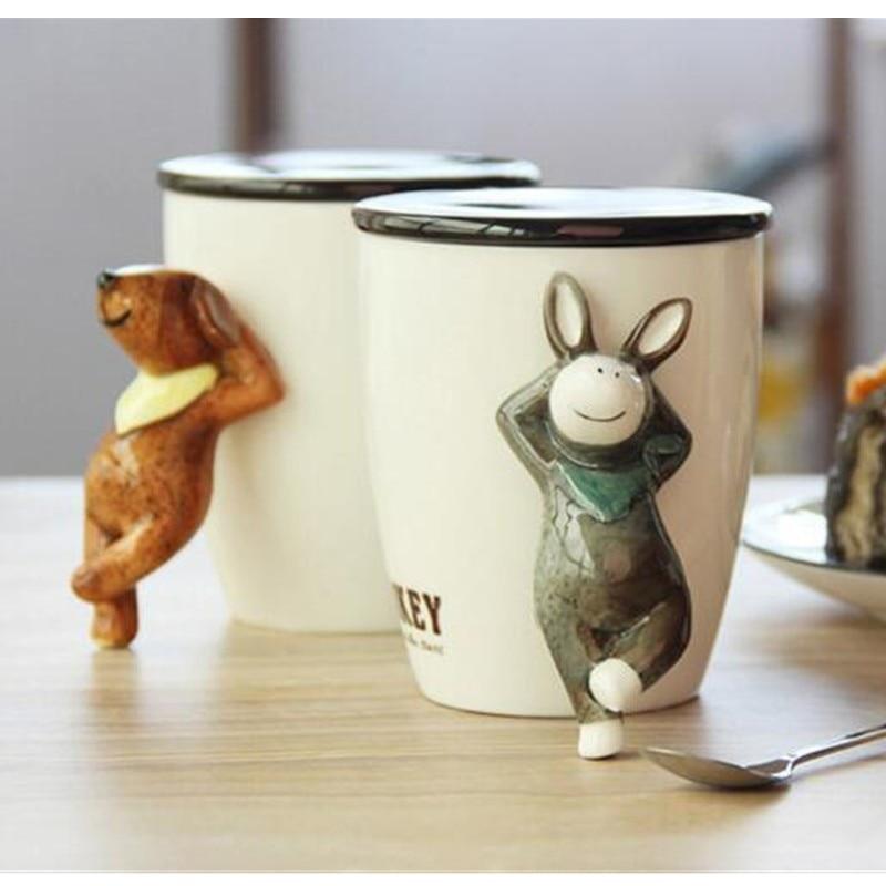 Lovely four kinds of animal shape cartoon coffee cup bone for Animal shaped mugs