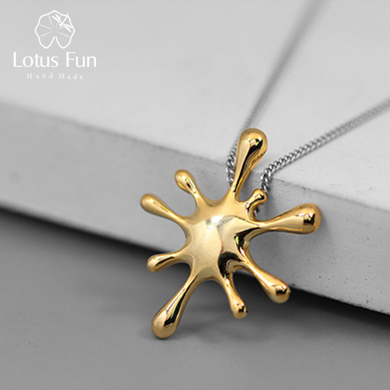 Lotus Fun Real 925 Sterling Silver Natural Creative Handmade Designer Fine Jewelry Splashing Metal Pendant Without Necklace