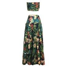 Boho nuevo Sexy mujer conjunto de dos piezas Crop Top Falda larga Floral estampado Bandeau sin tirantes vendaje volantes alta cintura Casual traje
