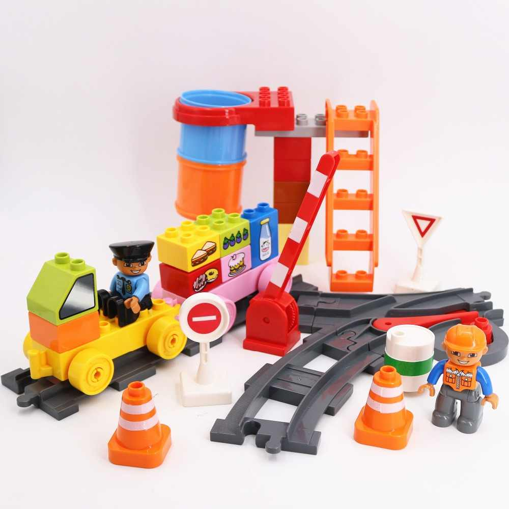 Diy Building Blocks Busy train transport track site Parts Accessories educational Toys For Children