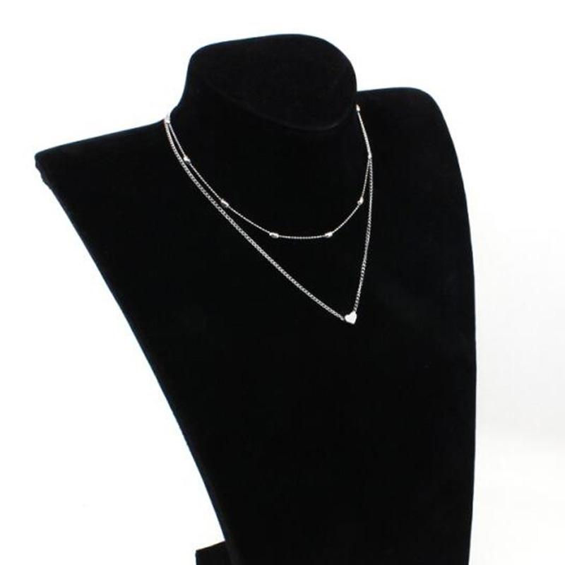 Женское двухъярусное ожерелье Брендовое с двойным рогатым сердцем