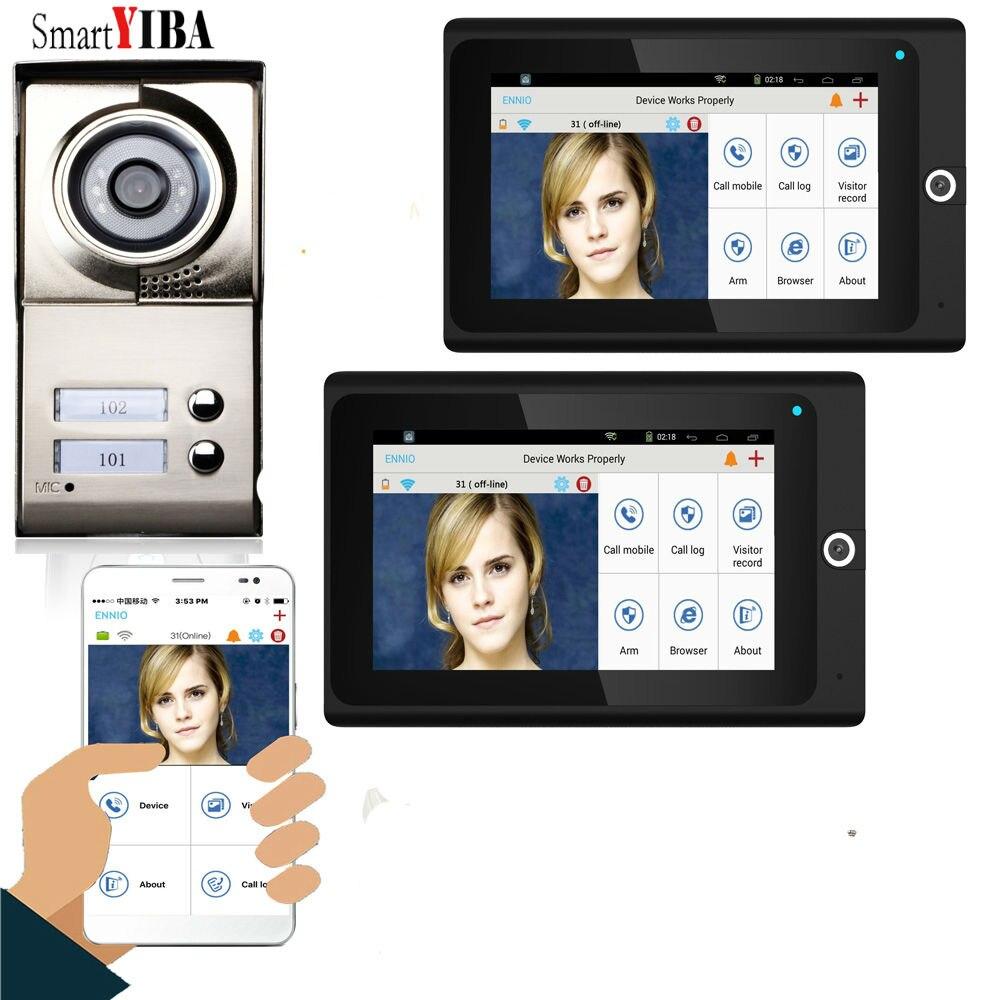 """SmartYIBA 7"""" Wired Wifi 2-3 Units Door Intercom 1000TVL 2-way Audio Video Doorbell Doorphone Multi Home Apartment Entry Kit"""