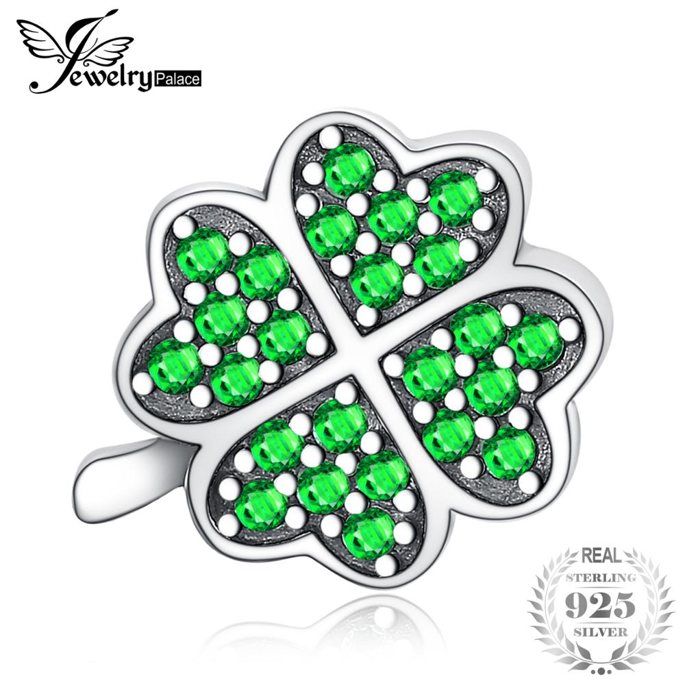 JewelryPalace Lucky Clover 925 Sterling Silver Beads Green Cubic Zirconia Beads Charms fit Bracelets Bangles Women DIY JewelryJewelryPalace Lucky Clover 925 Sterling Silver Beads Green Cubic Zirconia Beads Charms fit Bracelets Bangles Women DIY Jewelry