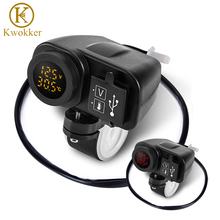 12V 4.2A Motorcycle Dual USB Voltmeter Charger Moto 2.1A+2.1A 12V To 5V 15W USB Charger With LED Display Sockets dropshipping newest arrival dual usb motorcycle charger 12v 4 2a moto 2 1a 2 1a 12v to 5v 15w usb charger with voltmeter led display sockets