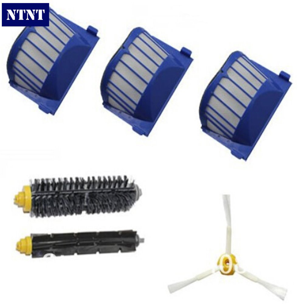 NTNT 3 Aero Vac Filter + Brush kit for iRobot Roomba 600 Series 620 630 650 660 etc vacuum cleaner accessories Replacement ntnt free shipping new 6 x brush 6 arms aero vac filter for irobot roomba 600 series 620 630 650 660