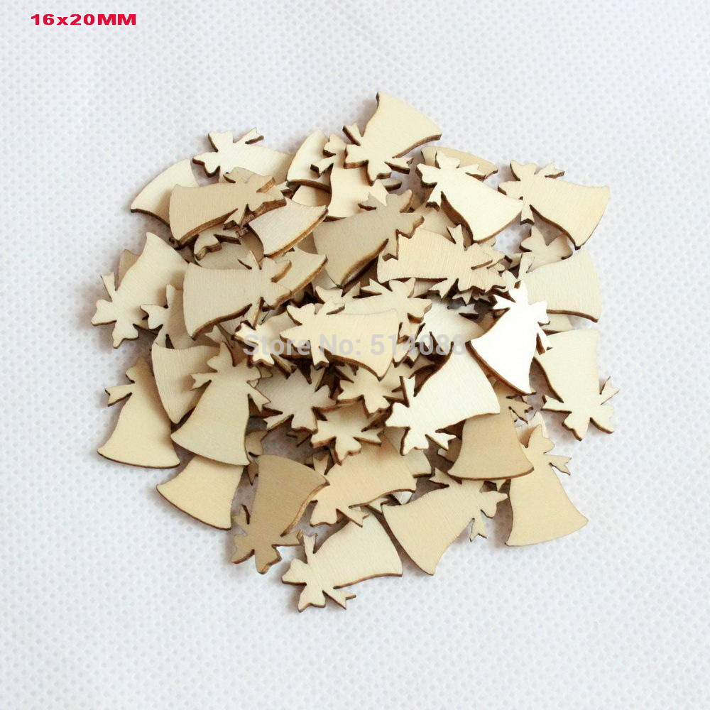 Small wooden ornaments -  150pcs Set 20mm Blank Wooden Christmas Small Bell Glass Beverage Ornaments 0 8