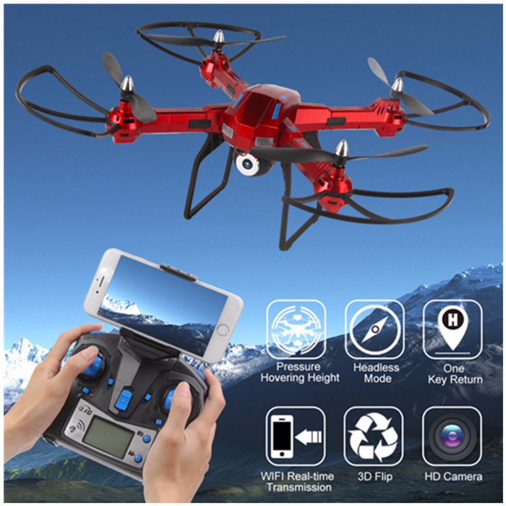 LIDIRC L5 6-Axis Gyro Wifi Real-time Transmission Drone with HD Camera 3D Flips High Hold Mode One Key Return RC Quadcopter jjrc 2017 new h12ch 6 axis gyro 5 0mp hd camera rc quadcopter professional drone rtf cf mode one key return set height mode