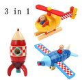 Frete Grátis! 3 em 1 De Madeira Janod Combinado Magnético Bebê Brinquedo Educativo Avião Foguete Vermelho Azul Bloco Amarelo Helicopte brinquedos