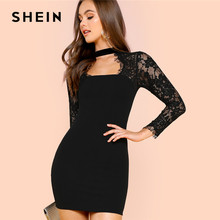 defd0568f9 SHEIN Black Lace Insert Solid Form Fitting Dress Party Sexy Sweetheart  Neckline Short Pencil Dresses Women Bodycon Autumn Dress