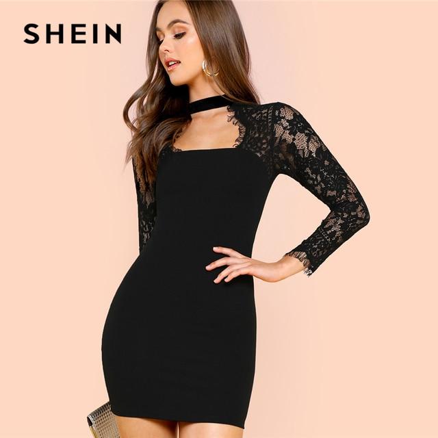 Shein black dress sexy