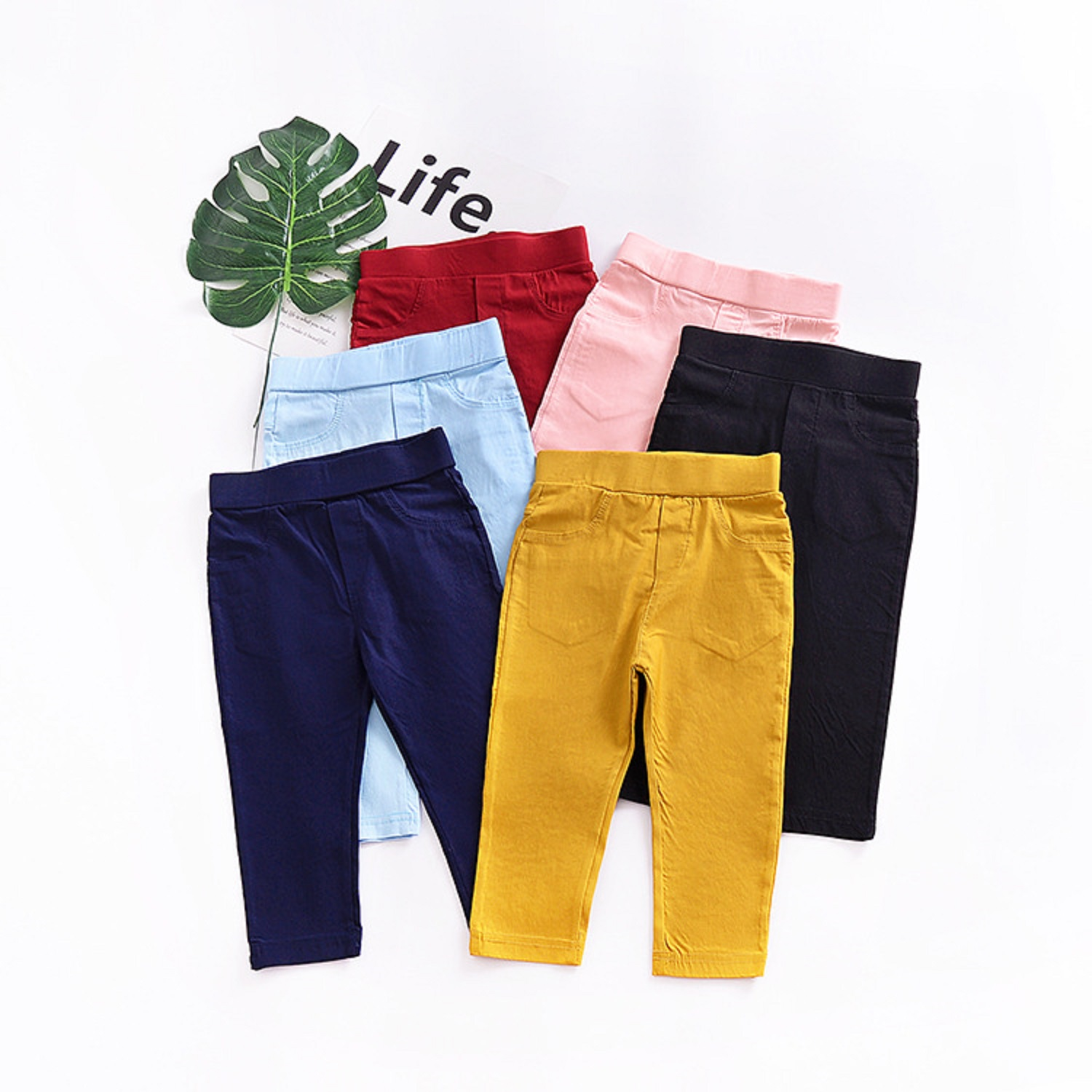 Trousers Pant Stretch-Pants Bottoms Girls Boys Kids Children Casual Multicolor Solid