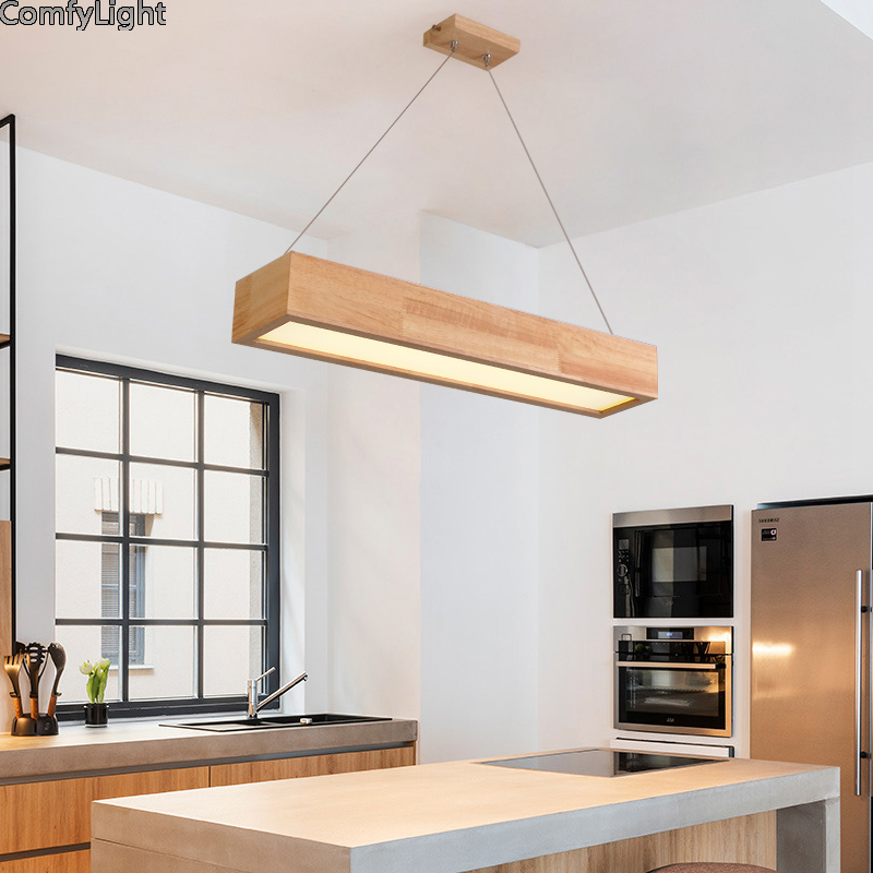 Creative pendant lights Led modern for dinning room wood lampshade suspension hanging ceiling lamps home lighting Kitchen island