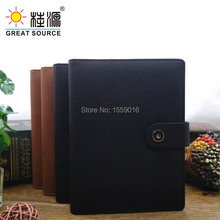 A5 Padfolio Leather Notepad Folder Ring Binder ziplock portable bag soft ruler colorful stickers and sticky note