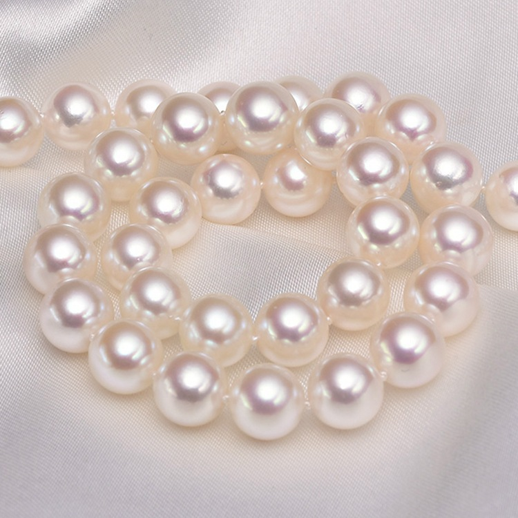 Eternal wedding Women Gift word silver real 925 silver real natural big Akoya seawater pearl , white, gloss necklace