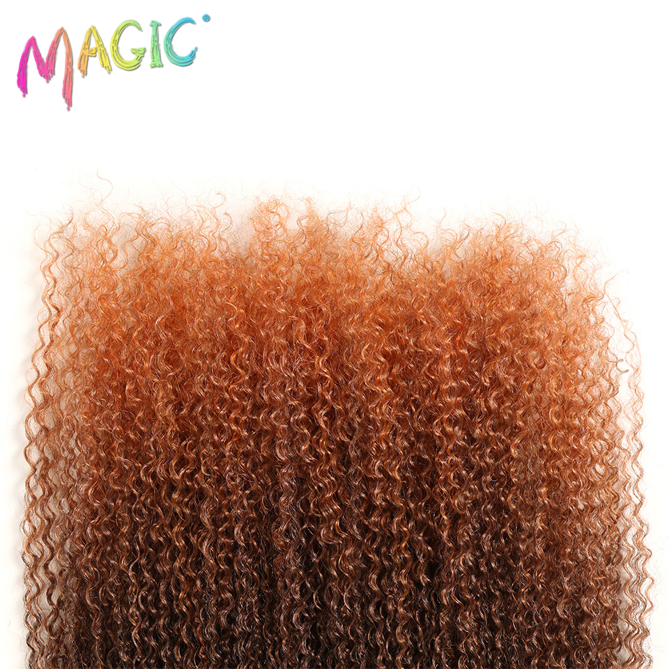 MAGIC For Black Women Kinky Curly Hair Weaving 28 38 quot Inch Synthetic Hair Extension Ombre Color Heat Resistant Fiber Hair Weave in Synthetic Weave from Hair Extensions amp Wigs
