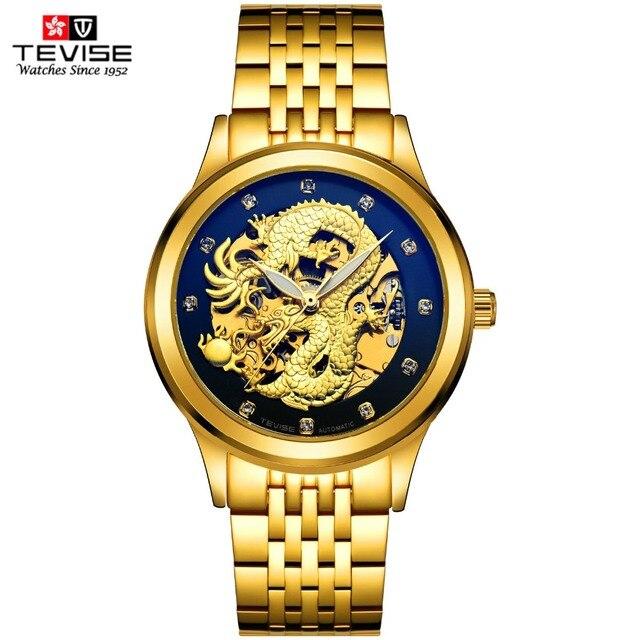 Baru 2017 asli merek mewah tevise pria sapphire jam tangan otomatis diri  angin skeleton 3d naga 498ee46c59
