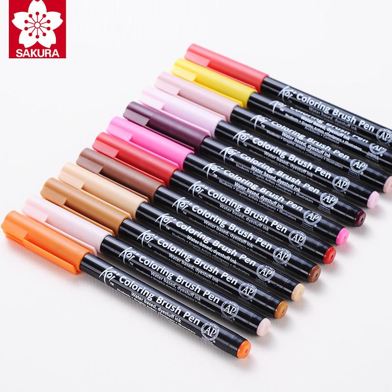 Details about Sakura Koi Coloring Brush Pen XBR 6 Gray/12/24/48 Colors  Brush Water Color Pen