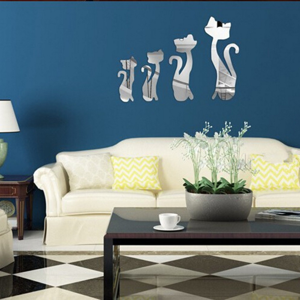 Excellent quality new diy 3d four cute cats acrylic mirror - Wohnzimmergestaltung 3d ...