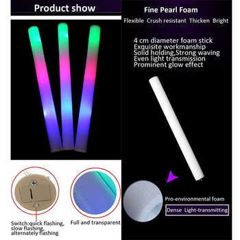 Glow Sticks 100pcs LED light stick Foam Stick For Party Wedding Concert Cheer Stick 3 Light Flashing with 3 batteries No Logo