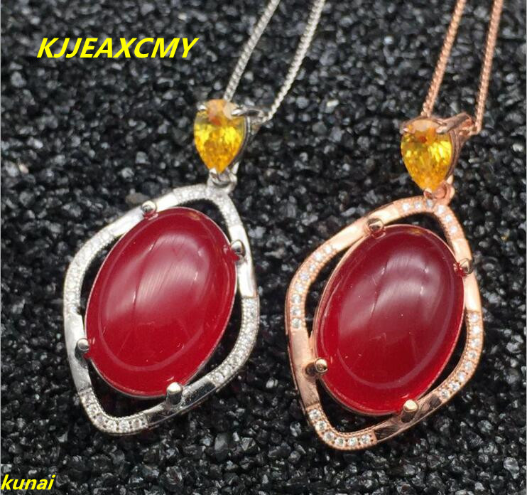 KJJEAXCMY boutique jewels 925 silver inlay natural red