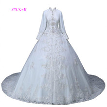 Real Photos Elegant Islamic Long Sleeve Lace Appliques Muslim Dresses Beaded Maxi Formal Dress Luxurious Gowns for Wedding