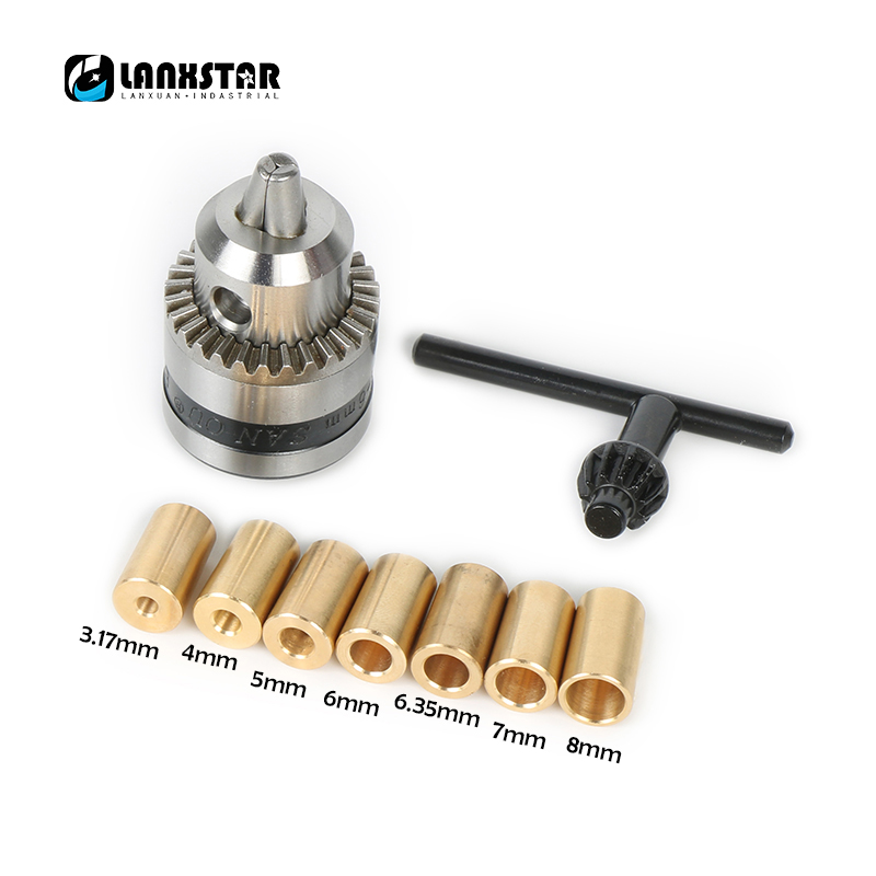 High Quality B10 Chuck with Sleeve Fit Motor Shaft 3.17mm/4mm/5mm/6mm/6.35mm/7mm/8mm 0.6~6mm Mini Drill B10 Taper Chuck
