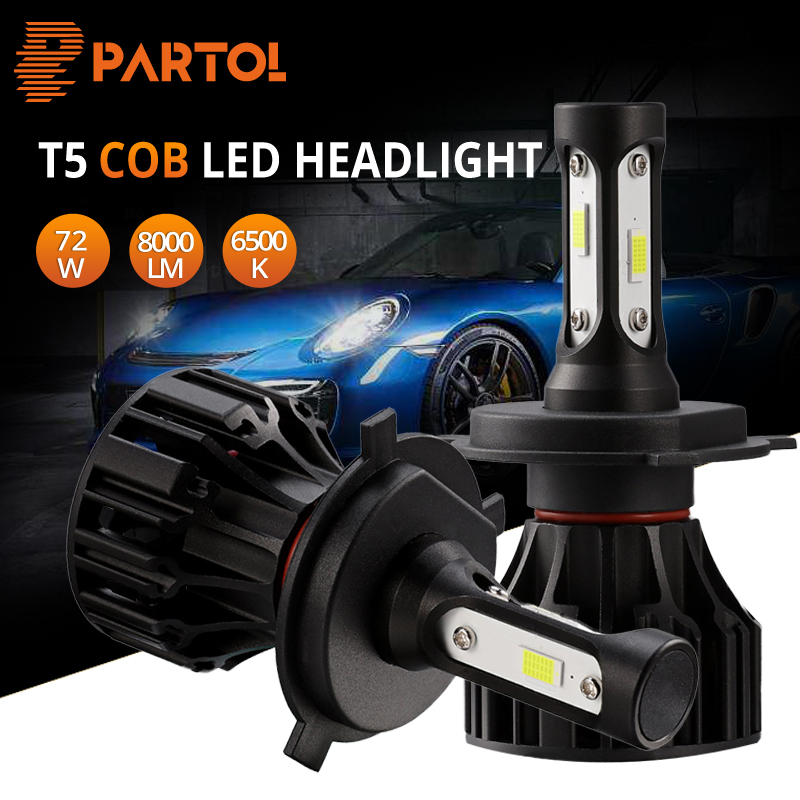 Partol 72W H1 H3 H4 H7 H11 9006 9005 LED Headlight Bulb Car Lights Automobiles LED Headlamp COB Hi-Lo Beam 8000LM 6500k 12V 24V цены