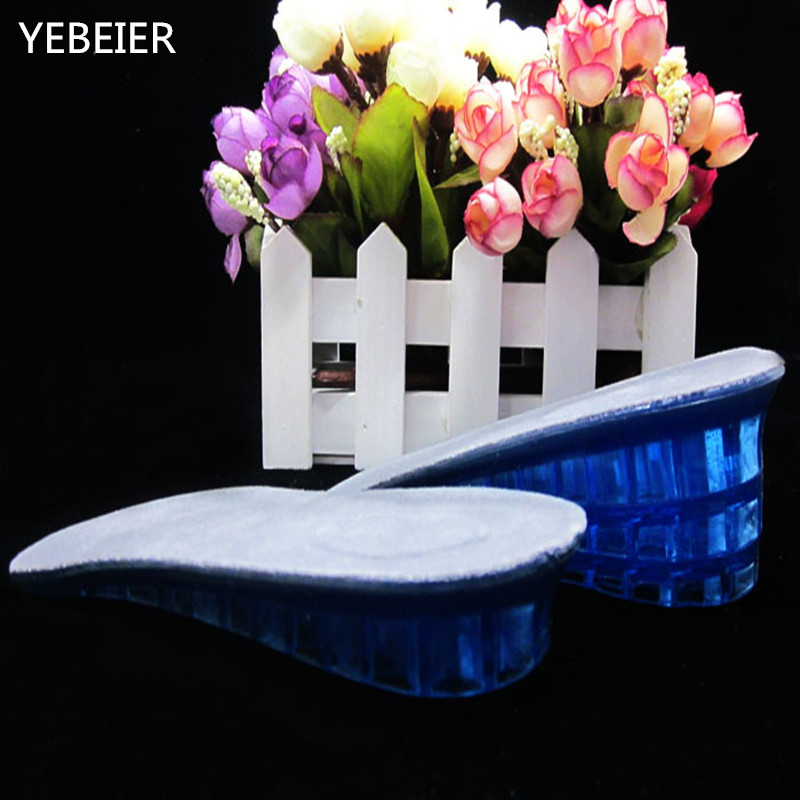 1 Pair 3 layer removable Comfortable Silicone Gel Lift Height Increase Shoe Insoles Heel Insert Pad Cushion Protector