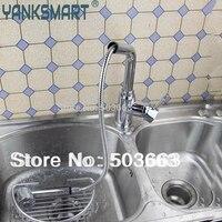 Độc đáo Pull Out Kitchen Sink Suối Phun Chrome Sàn Brass Độc Handle Mounted Ceramic Mixer Tap Fauce YS536