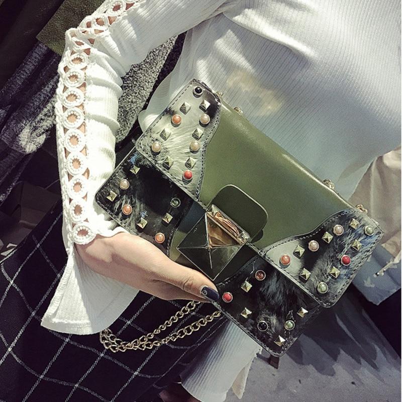 2017 New Beautiful Women Fashion Handbags PU Leather Rivets Chains Hand Bag Flap Shoulder Messenger Crossbody Bags Street Photos
