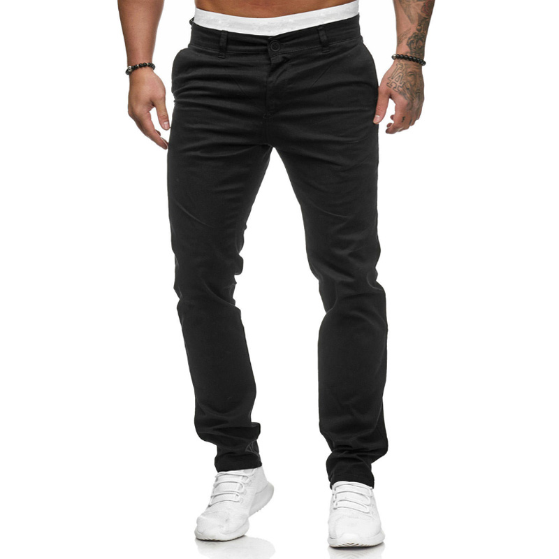 New Design Casual Men Pants Cotton Slim Pant Straight Trousers Fashion Business Solid Dark Gray Black Joggers Men Pantalon Homme