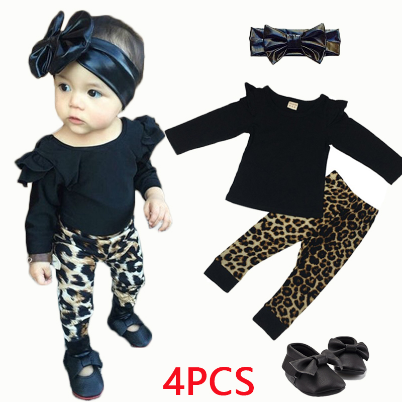 New 2016 baby girl clothes newborn cotton baby fashion clothing long sleeve t-shirt+leopard pants infant 2pcs/sets  kids suit