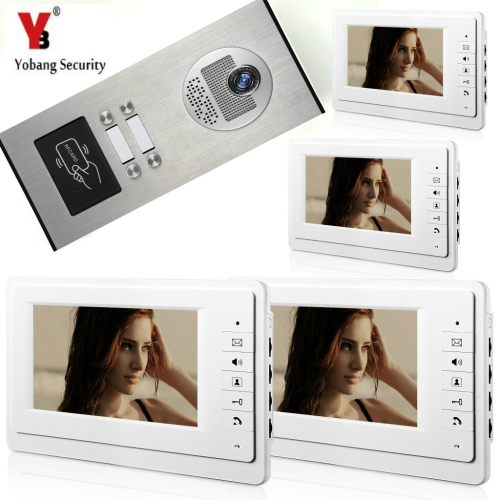 YobangSecurity 7 Inch HD Security Video Door Phone System Inches Video Door Machine RFID Access Control 1 Camera 4 Monitor
