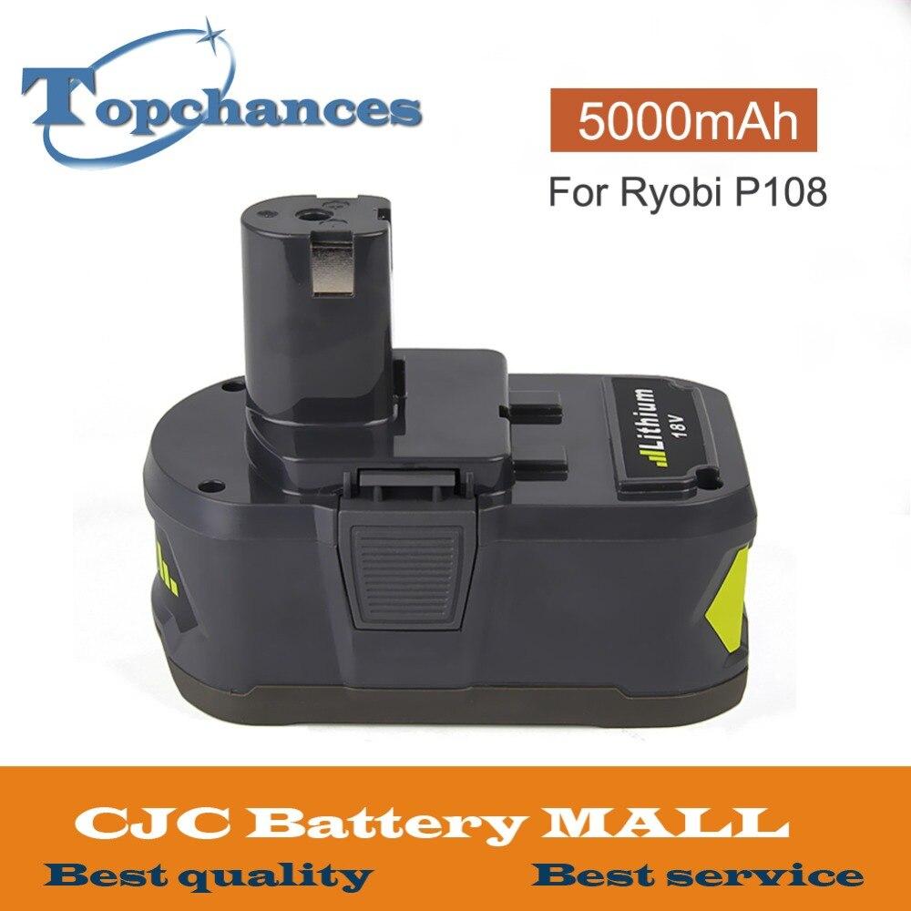 Nouvelle capacité 18 V 5000 mAh Li-Ion pour batterie Rechargeable Ryobi Hot P108 RB18L40 batterie outil électrique pour Ryobi ONE +