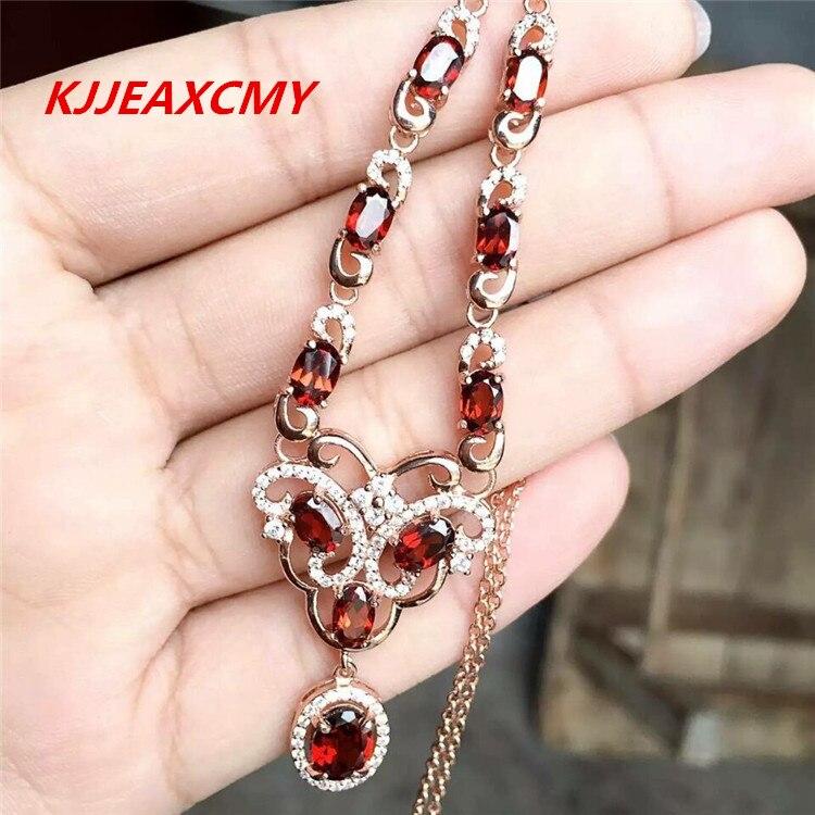 KJJEAXCMY Fine jewelry,Natural garnet female Necklace Pendant pendant jewelry wholesale S925 Sterling Silver
