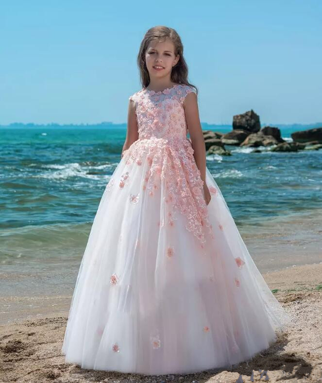 New Pink Flower Girl Dresses With Flowers Lace Applique Ball Gown First Communion Dress for Girls Customized Vestidos Longo fancy pink little girls dress long flower girl dress kids ball gown with sash first communion dresses for girls