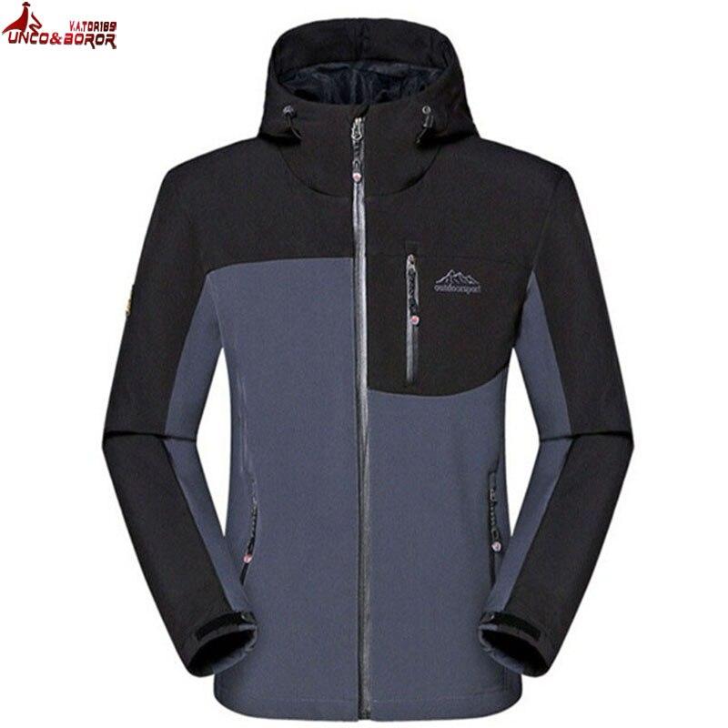 UNCO&BOROR Waterproof Sharkskin Soft Shell Fleece Tactical Jacket men sportswear Windproof Outerwear Coat brand Clothing
