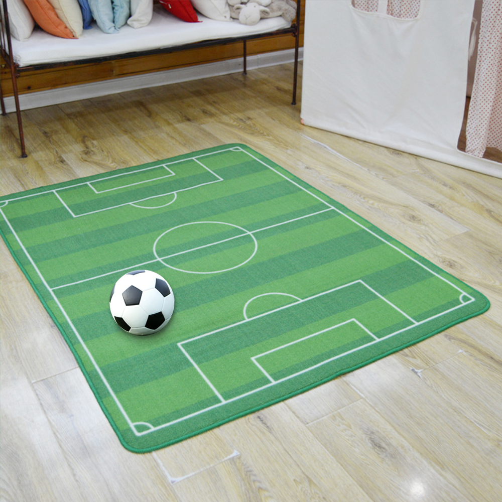"51""*71"" Kids Rug Football Field Rug Cartoon Soccer Playing"