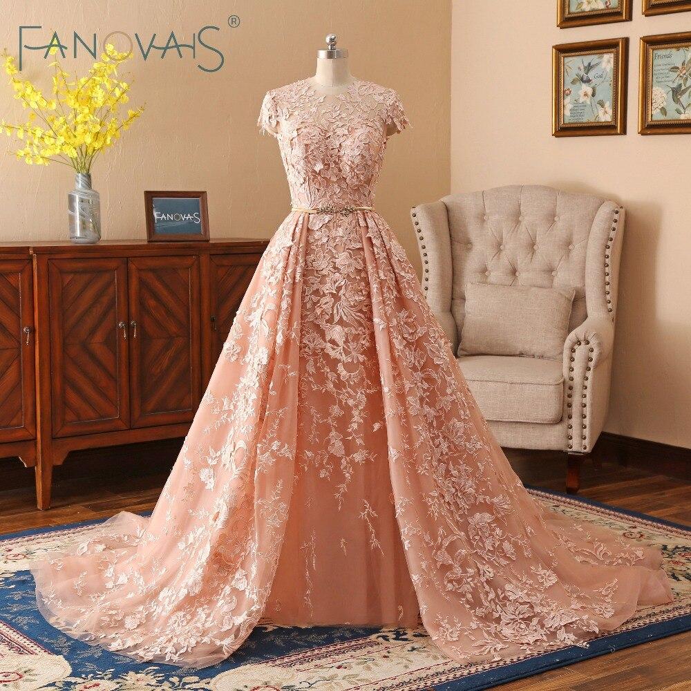 Lace Vestidos de Casamento 2019 Trem Longo Vestidos de Noiva Vestido de Novia robe de mariee Vestido de Noiva Mangas Curtas Com Cinto De Ouro