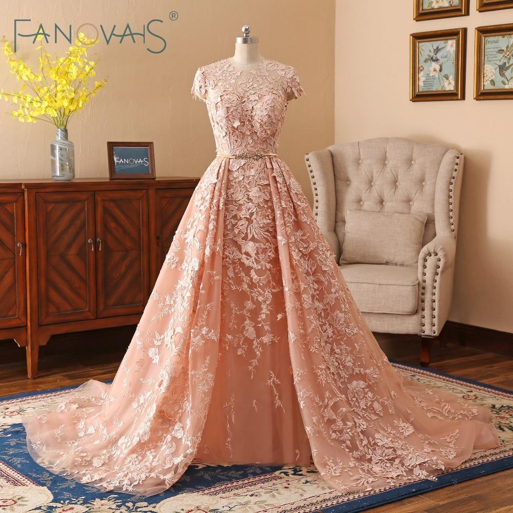 Robes de mariée en dentelle 2019 Long Train robes de mariée Vestido de Novia manches courtes robe de mariée avec ceinture dorée robe mariee